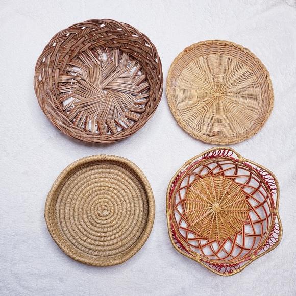 DIY Statement Woven Wicker Basket Wall Set of 4